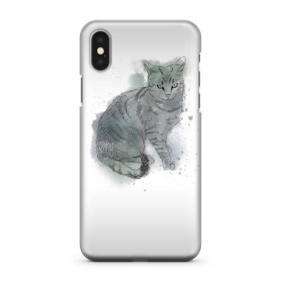 Чехол для iPhone X Серый сердитый кот