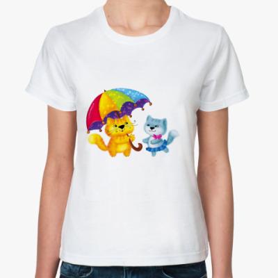Классическая футболка Котейки с зонтиком