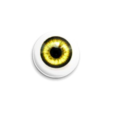 Значок 25мм  Глаз - золотой