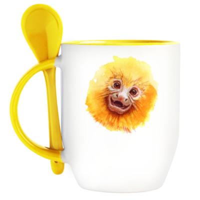 Кружка с ложкой Обезьянка Golden Lion Tamarin