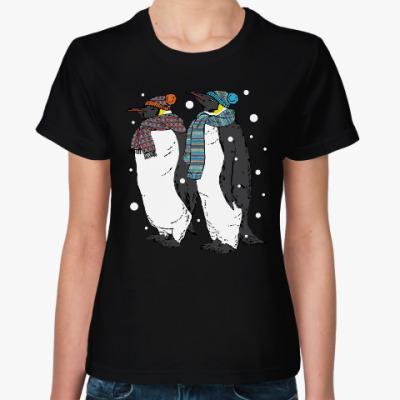 Женская футболка Новогодние пингвины в шапках
