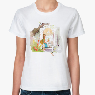 Классическая футболка девушка на окне