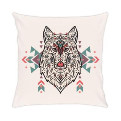Подушка Тотем волк. Ацтекский узор