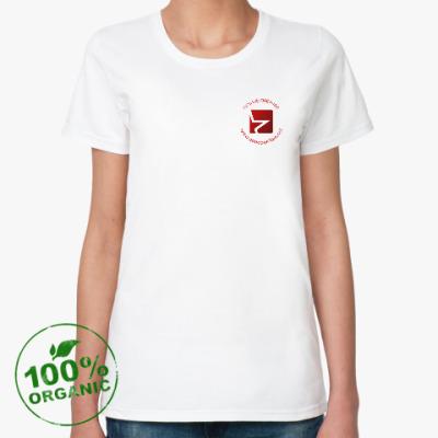 Женская футболка из органик-хлопка С эмблемой сети однополчан