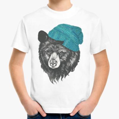 Детская футболка Медведь в шапке