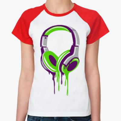 Женская футболка реглан наушники  headphones