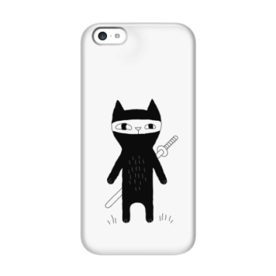 Чехол для iPhone 5c Кот-ниндзя