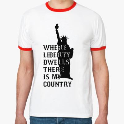 Футболка Ringer-T Liberty dwells