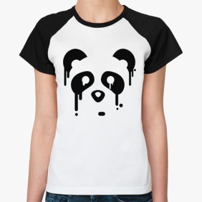 Женская футболка реглан Унылая панда