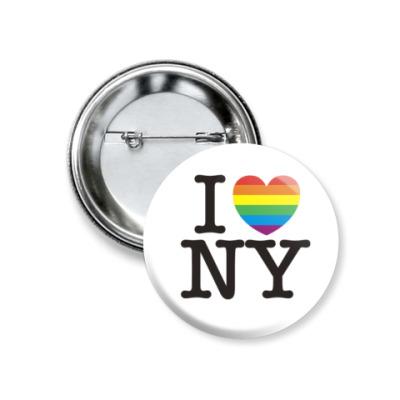 Значок 37мм  'I love NY'