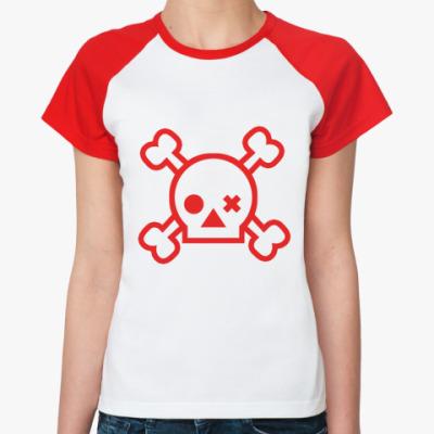 Женская футболка реглан Skull  Ж()