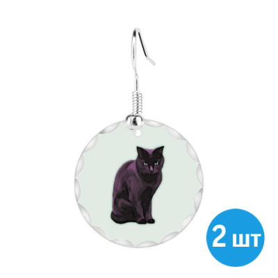 Серьги Черная кошка