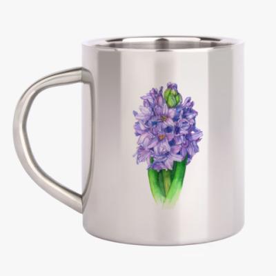 Кружка металлическая Цветок гиацинт-ирис акварель