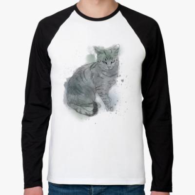 Футболка реглан с длинным рукавом Серый сердитый кот