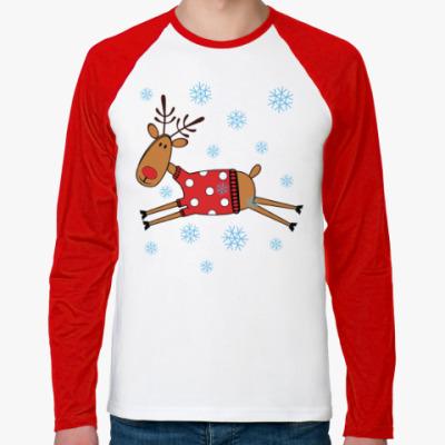 Футболка реглан с длинным рукавом Новогодний олень в свитере