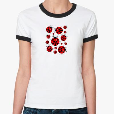 Женская футболка Ringer-T 15 божьих коровок
