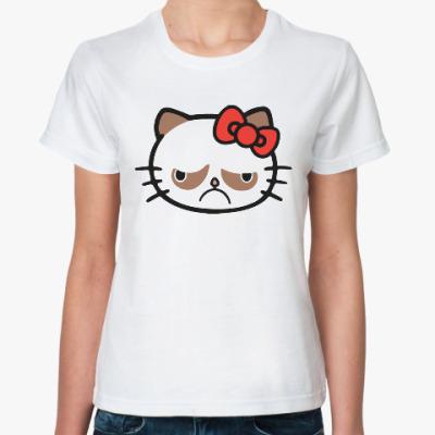 Классическая футболка Hello Grumpy Cat