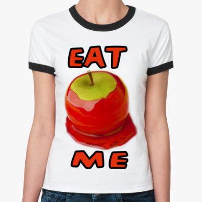 Женская футболка Ringer-T Яблоко в клубничной глазури