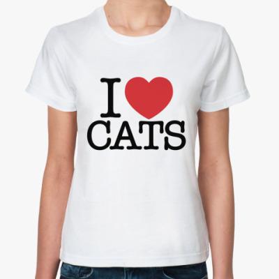 Классическая футболка i love cats!