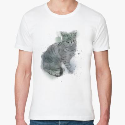 Футболка из органик-хлопка Серый сердитый кот