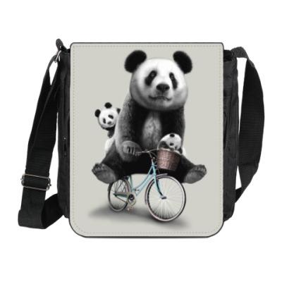 Сумка на плечо (мини-планшет) Панды на велосипеде