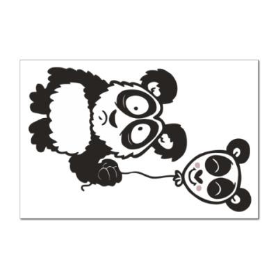 Наклейка (стикер) Панда с шариком
