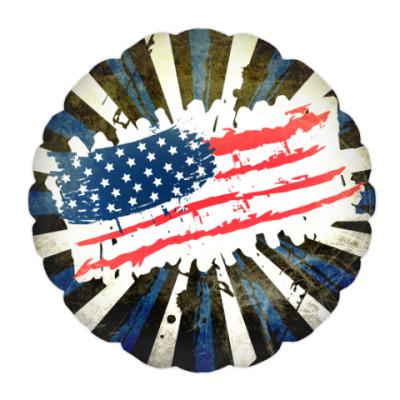 Подушка Американский флаг. Гранж.