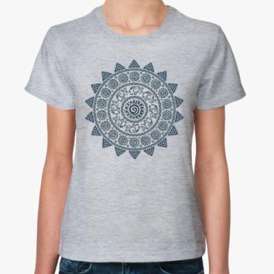 Женская футболка Мандала со слониками