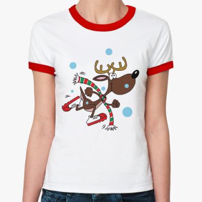 Женская футболка Ringer-T Олень в кроссовках