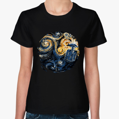 Женская футболка Тардис Ван Гог