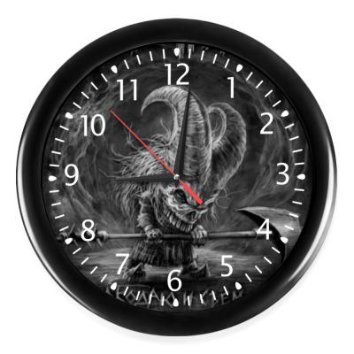 Настенные часы Часы, черные (белые цифры)