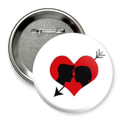 Значок 75мм Сердце хочет любви
