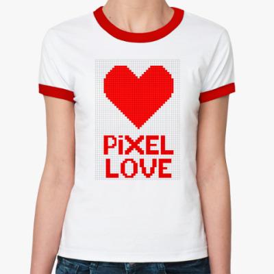 Женская футболка Ringer-T Пиксельная любовь