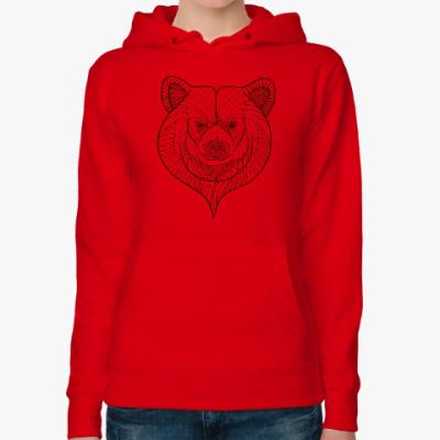 Женская толстовка худи Голова медведя