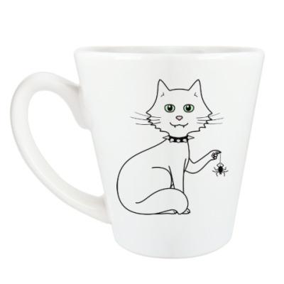 Чашка Латте Кот с паучком