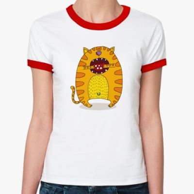 Женская футболка Ringer-T 'Батон с колбасой'