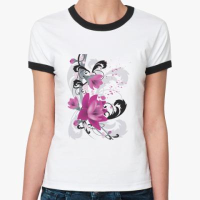 Женская футболка Ringer-T  'Пурпурные Цветы'