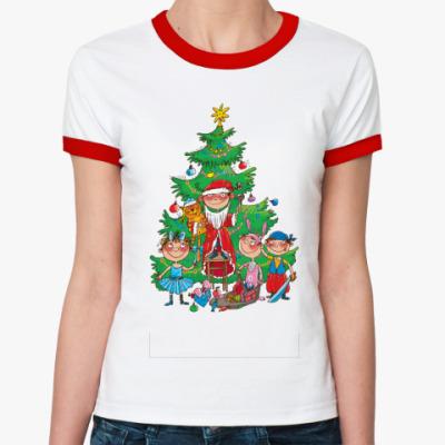 Женская футболка Ringer-T Веселый Новый Год