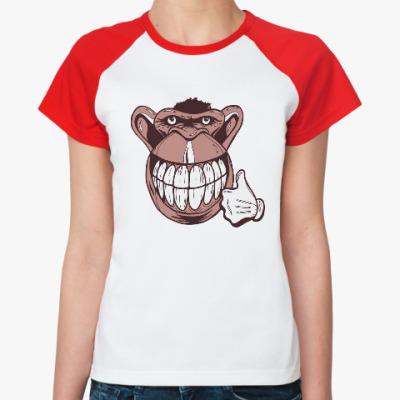 Женская футболка реглан Веселая обезьяна