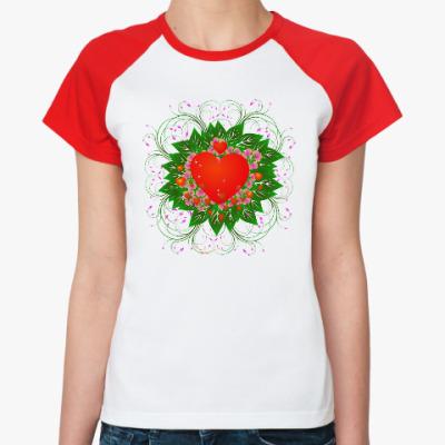 Женская футболка реглан Heart Flower