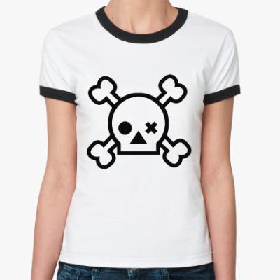 Женская футболка Ringer-T Skull  Ж (бел/чёрн)