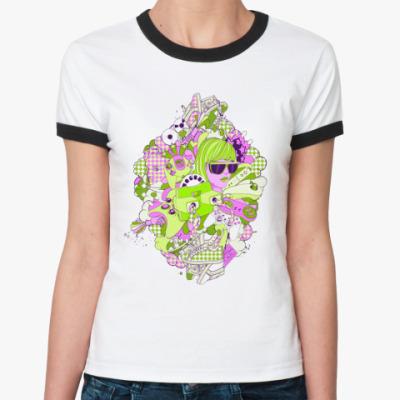 Женская футболка Ringer-T play  Ж (бел/чёрн)