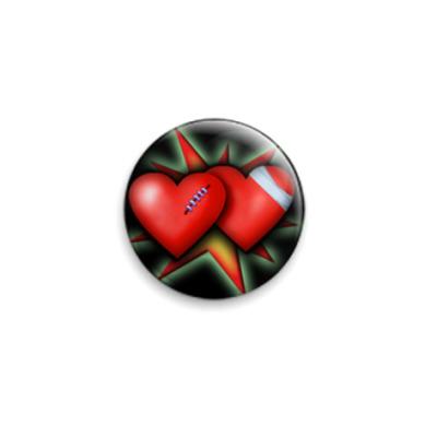 Значок 25мм Два сердца
