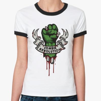 Женская футболка Ringer-T Революция Зомби