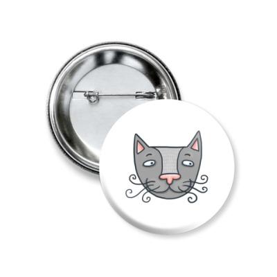 Значок 37мм  'Серый кот'