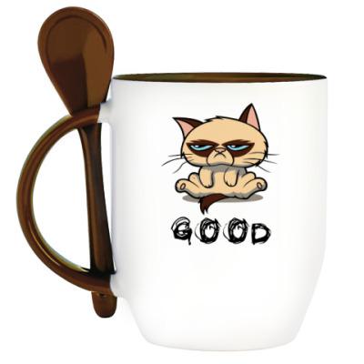 Кружка с ложкой Недовольный кот ( Grumpy cat )
