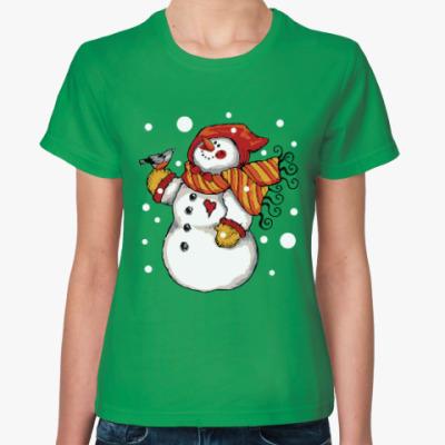 Женская футболка Снеговик и снегирь