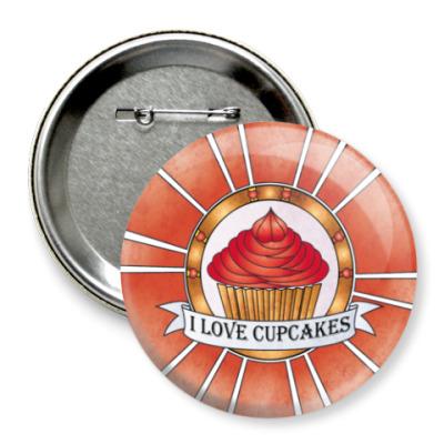 Значок 75мм I love cupcakes