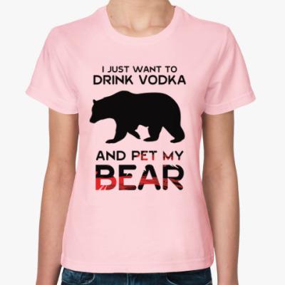 Женская футболка Pet my bear