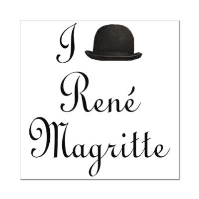 Наклейка (стикер) Я люблю Рене Магритта (котелок)